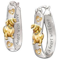 Sculptural Dog Lover's Earrings with Engraving