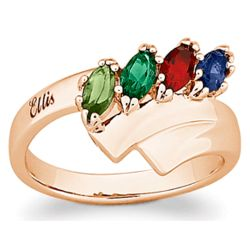 18k Gold Over Sterling Family Name Marquise Birthstone Ring