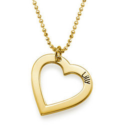 Engraved 18K Gold Plated Children's Heart Necklace