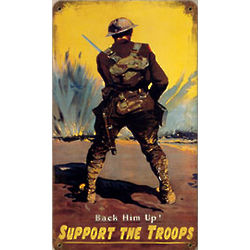 Support the Troops Distressed Metal Sign