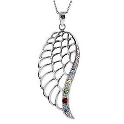 Five Birthstone Sterling Silver Angel Wing Pendant