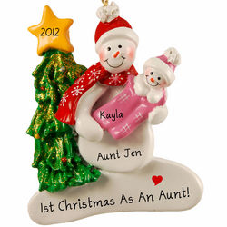 First Christmas as an Aunt with Baby Girl Snowman Ornament