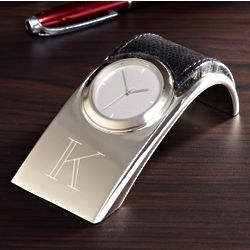 Personalized Silver Desk Top Clock