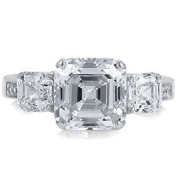 Sterling Silver 3-Stone Asscher Cubic Zirconia Engagement Ring