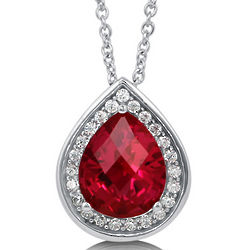 Pear Cut Ruby Cubic Zirconia Sterling Silver Halo Necklace