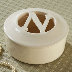 Carved Initial Porcelain Box