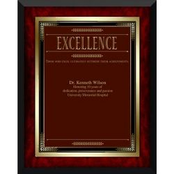 Personalized Rosewood Excellence Award Plaque