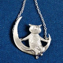 Sterling Silver Gorey Cat on the Moon Necklace