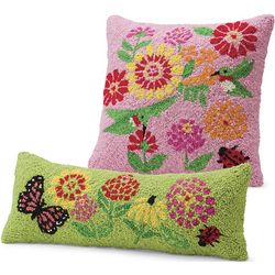 Pink Square and Green Lumbar Floral Pillows