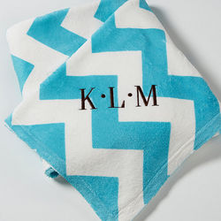 Monogram Embroidered Chevron Throw Blanket