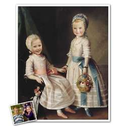 Classic Painting Little Sisters Personalized Print in Frame