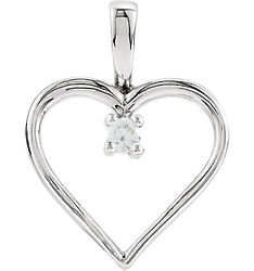 Diamond Solitaire Heart Pendant in 10K White Gold
