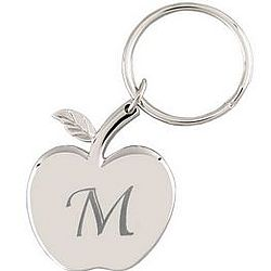 Silver Apple-Shaped Engraved Keychain