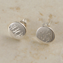 Monogrammed Small Sterling Silver Round Post Earrings