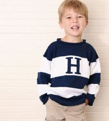 Wide Stripe Initial Sweater