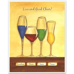 Cheers to Friendship Wineglasses IV Personalized Artwork