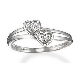 Two Heart Diamond Promise Ring in 14k White Gold