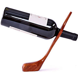 Mahogany Golf Club Balancing Wine Bottle Holder