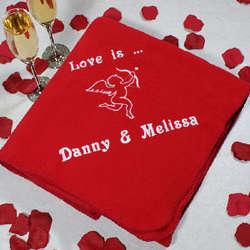 Embroidered Cupid Fleece Throw Blanket