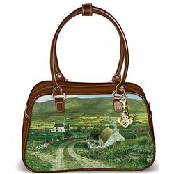 Irish Art Handbag with Leather Trim and Claddagh Keychain