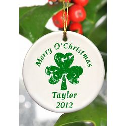 Personalized Christmas And Clover Ornament