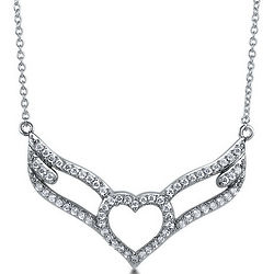 Sterling Silver Necklace Cubic Zirconia Heart with Wings Pendant