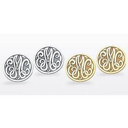 Sterling Silver Monogram Button Earrings