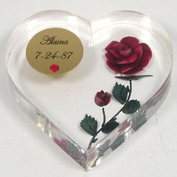 Personalized Birthstone Heart Paperweight with Red Rose