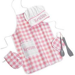 Personalized Kid's Pink Apron Set