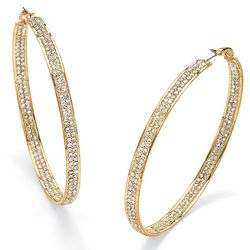 Crystal 14k Yellow Gold-Plated Inside-Out Hoop Earrings