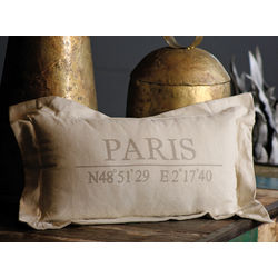 Paris Latitude and Longitude Pillow