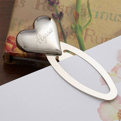 Engraved Silver Heart Personalized Bookmark
