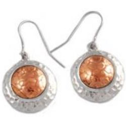 Disc Copper and Pewter Earrings