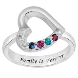 Sterling Silver Family Bonds Diamond and Birthstone Heart Ring