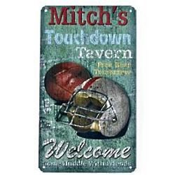 Personalized Touchdown Tavern Rustic Metal Sign