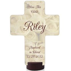 Bless This Child White Rose Cross