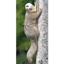 Squirrel Wearing Climbing Gear Tree Sculpture