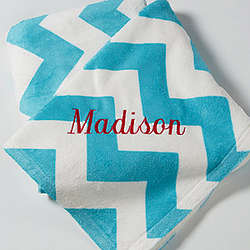 Embroidered Name Chevron Throw Blanket