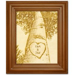 Personalized Love Tree Framed and Engraved Wood Art