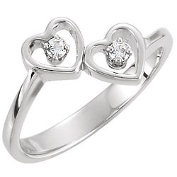 Two of Us Heart Ring in 10K White Gold