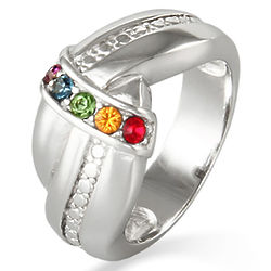 Mother's 5-Birthstone Sterling Silver Love Knot Ring