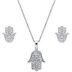 Hamsa Hand Sterling & Cubic Zirconia Necklace and Earrings Set