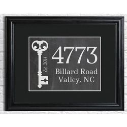Our First Home Personalized Chalboard Framed Print in Black