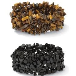 Onyx and Tiger's-Eye Nugget Bracelet Set