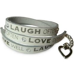 Live, Laugh, Love Leather Wrap Bracelet
