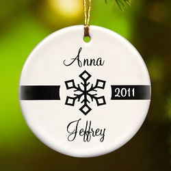 Our First Christmas Black and White Snowflake Ornament