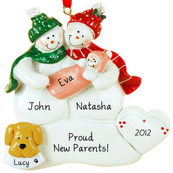 New Parents Baby Girl and Dog Christmas Ornament
