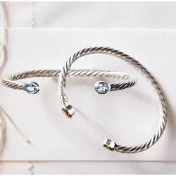 Sterling Silver Ruby Birthstone Cuff Bracelet