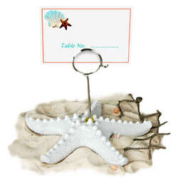 White Beach Starfish Place Card Holder