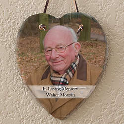 Heart Slate Personalized Memorial Photo Plaque